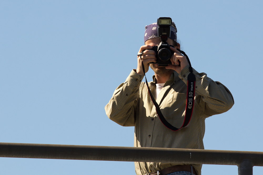 Mike shoots from the observation tower.